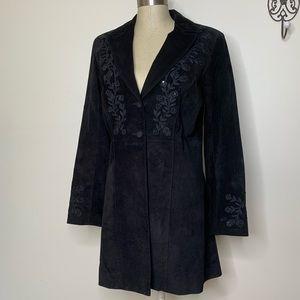 Scully Black Suede Embellished Dress Coat Sz 8